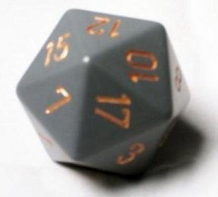 d20 Dice Chessex 16mm Opaque Dark Grey copper PQ2020 Dado Opaco Grigio Scuro rame