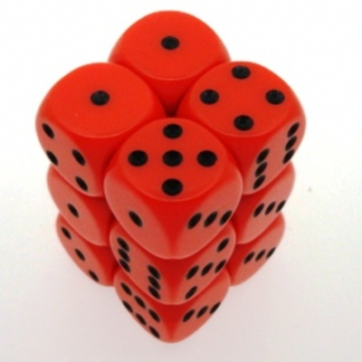 12 d6 Die Set Chessex OPAQUE ORANGE black Dice OPACO ARANCIO nero Dadi Dado 25603