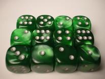 12 d6 Dice Set Chessex VELVET GREEN silver Die VERDE argento Dadi Dado 27675