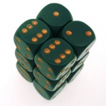 12 d6 Die Set Chessex OPAQUE DUSTY GREEN copper Dice OPACO VERDE SPORCO rame Dadi Dado 25615