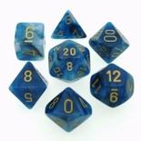 7 Die Set Chessex PHANTOM TEAL gold Dice CIANO oro Dadi Dado 27489