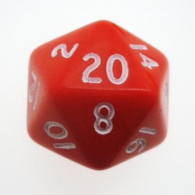 d20 Dice Chessex 16mm Opaque Red white PQ2004 Dado Opaco Rosso bianco