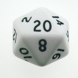 d20 Dice Chessex 16mm Opaque White black PQ2001 Dado Opaco Nero bianco