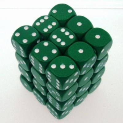 36 d6 Die Set Chessex OPAQUE GREEN white Dice OPACO VERDE bianco Dadi Dado 25805