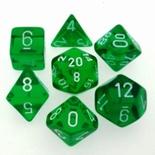 7 Die Set Chessex TRANSLUCENT GREEN white Dice VERDE bianco Dadi Dado 23005