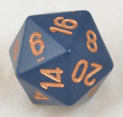 d20 Dice Chessex 16mm Opaque Dusty blue copper PQ2026 Dado Opaco Blu Sporco rame