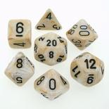 7 Die Set Chessex MARBLE IVORY black Dice AVORIO nero Dadi Dado 27402