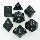 7 Die Set Chessex SPECKLED NINJA silver 25318 MACULATO NINJA argento Dadi Dado Dice
