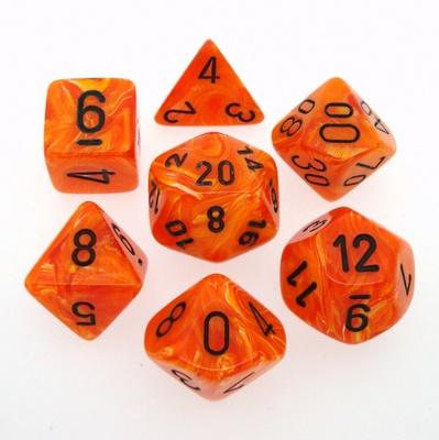 7 Die Set Chessex VORTEX ORANGE black Dice ARANCIO nero Dadi Dado 27433