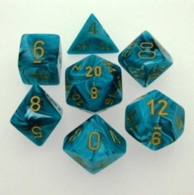 7 Die Set Chessex VORTEX TEAL gold Dice CIANO oro Dadi Dado 27439