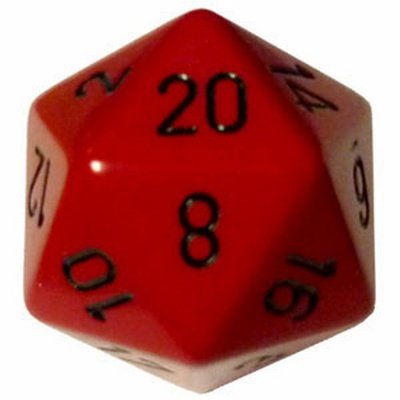 d20 Dice Chessex 16mm Opaque Red black PQ2014 Dado Opaco Rosso nero