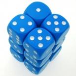 12 d6 Dice Set Chessex OPAQUE LIGHT BLUE white 25616 Dadi OPACO BLU CHIARO bianco