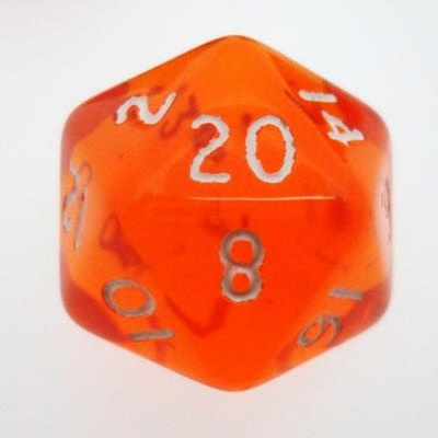 d20 Dice Chessex 16mm Translucent Orange white PT2003 Dado Trasparente Arancione bianco