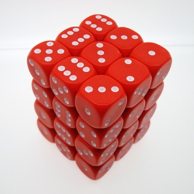 36 d6 Die Set Chessex OPAQUE RED white Dice OPACO ROSSO bianco Dadi Dado 25804