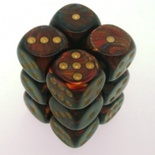12 d6 Dice Set Chessex SCARAB BLUE BLOOD gold 27619 Dadi BLU SANGUE oro