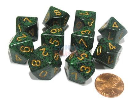 10 d10 Dice Set Chessex SPECKLED RECON Gold 25135 MACULATO RECON Oro Dadi Dado