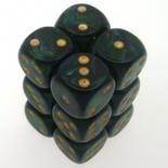 12 d6 Dice Set Chessex SCARAB JADE gold 27615 Dadi GIADA oro