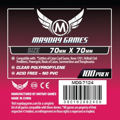 100 Card Sleeves Mayday SMALL SQUARE 70x70 Bustine Protettive Giochi da Tavolo Buste