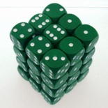 36 d6 Die Set Chessex OPAQUE GREEN white Dice OPACO VERDE bianco Dadi Dado 25805