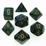 7 Die Set Chessex SCARAB  JADE gold Dice GIADA oro Dadi Dado 27415
