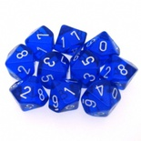 10 d10 Dice Set Chessex TRANSLUCENT BLUE white 23206 Dadi TRASPARENTI BLU bianco