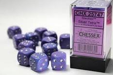 12 d6 Dice Set Chessex SPECKLED SILVER TETRA 25747 Purple Dadi Dado Die