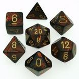 7 Die Set Chessex SCARAB  BLUE BLOOD gold Dice BLU SANGUE oro Dadi Dado 27419