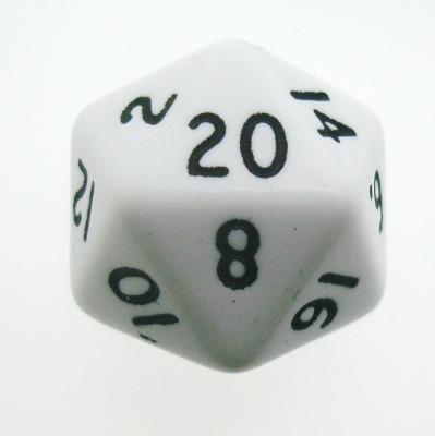 d20 Dice Chessex 16mm Opaque White black PQ2001 Dado Opaco Nero bianco
