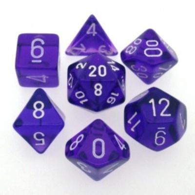 7 Die Set Chessex TRANSLUCENT PURPLE white Dice VIOLA bianco Dadi Dado 23007
