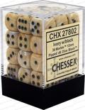 36 d6 Dice Set Chessex MARBLE IVORY Black 27802 AVORIO Nero Dadi Dado