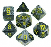 7 Die Set Chessex VORTEX BLACK yellow Dice NERO giallo Dadi Dado 27438