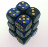 12 d6 Dice Set Chessex SCARAB ROYAL BLUE gold 27627 Dadi BLU REGALE oro
