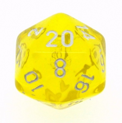 d20 Dice Chessex 16mm Translucent Yellow white PT2002 Dado Trasparente Giallo bianco