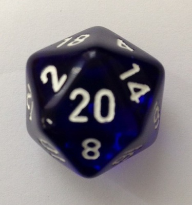 d20 Dice Chessex 16mm Translucent Blue white PT2006 Dado Trasparente Blu bianco