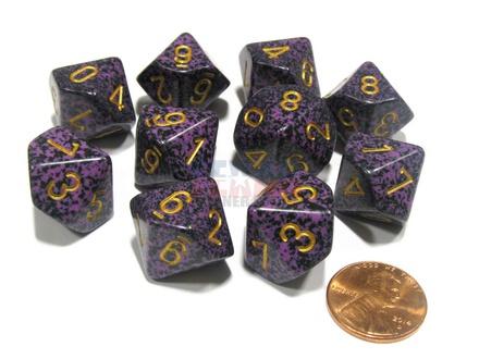 10 d10 Dice Set Chessex SPECKLED HURRICANE Gold 25117 MACULATO URAGANO Oro Dadi Dado