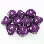 10 d10 Dice Set Chessex OPAQUE PURPLE white 26207 Dadi OPACO VIOLA bianco