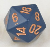 d20 Dice Chessex 16mm Opaque Dusty blue copper PQ2026 Dado Opaco Blu Sporco rame