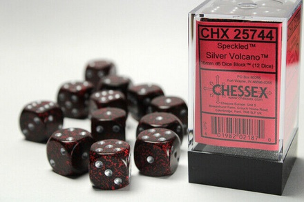 12 d6 Dice Set Chessex SPECKLED SILVER VOLCANO 25744 Red Black Dadi Dado Die
