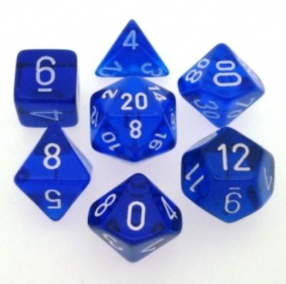 7 Die Set Chessex TRANSLUCENT BLUE white Dice BLU bianco Dadi Dado 23006