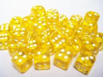 36 d6 Dice Set Chessex TRANSLUCENT YELLOW white 23802 Dadi Trasparente Giallo