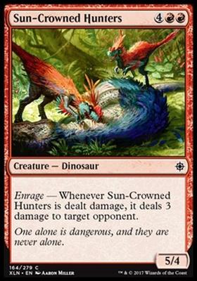 4 x SUN-CROWNED HUNTERS NM mtg Ixalan Red Dinosaur Com