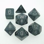 7 Die Set Chessex SPECKLED HI-TECH silver 25340 MACULATO HI-TECH silver Dadi Dado Dice