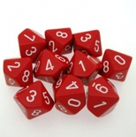 10 d10 Dice Set Chessex OPAQUE RED white 26204 Dadi OPACO ROSSO bianco