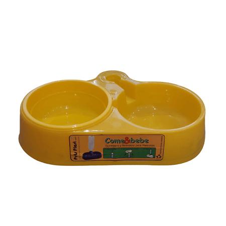 Mediano - Plato Doble Amarillo / Pets Plast