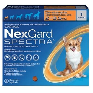 2-3.5kg Perros - 1 Tableta Para Pulgas y Garrapatas / NexGard Spectra