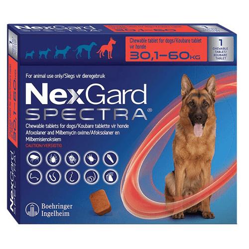30-60kg Perros - 1 Tableta Para Pulgas y Garrapatas / NexGard Spectra