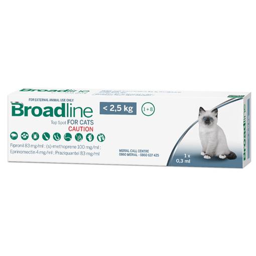 0-2.5kg Gatos - 1 Pipeta Para Pulgas y Garrapatas / Broadline