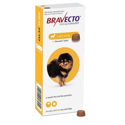 2-4.5kg Perros - 1 Tableta Para Pulgas y Garrapatas / Bravecto