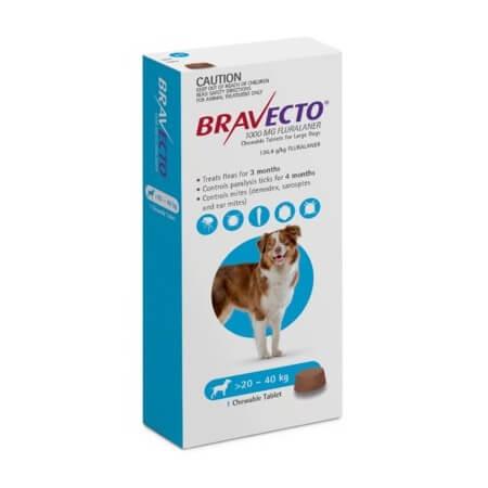 20-40kg Perros - 1 Tableta Para Pulgas y Garrapatas / Bravecto