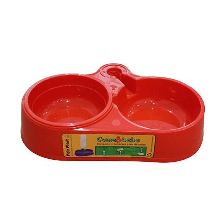 Mediano - Plato Doble Rojo / Pets Plast